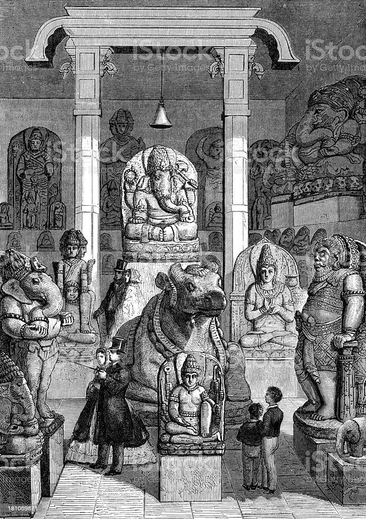 Antique illustration of Leyde museum asian monument room royalty-free stock vector art
