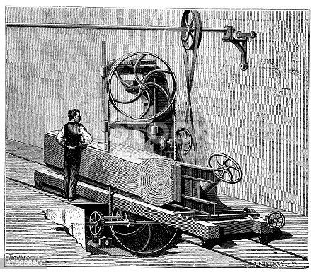 Antique illustration of lumber industry