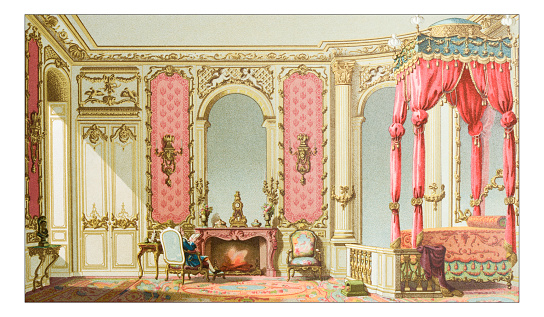 Antique illustration of luxury bedroom