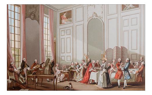 Antique illustration of luxury tea party