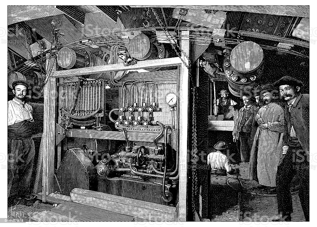 Antique illustration of machinery vector art illustration