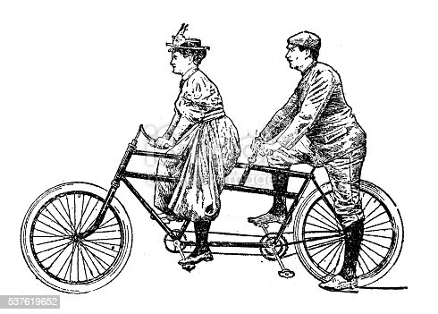 Antique illustration of man and woman on tandem bicycle