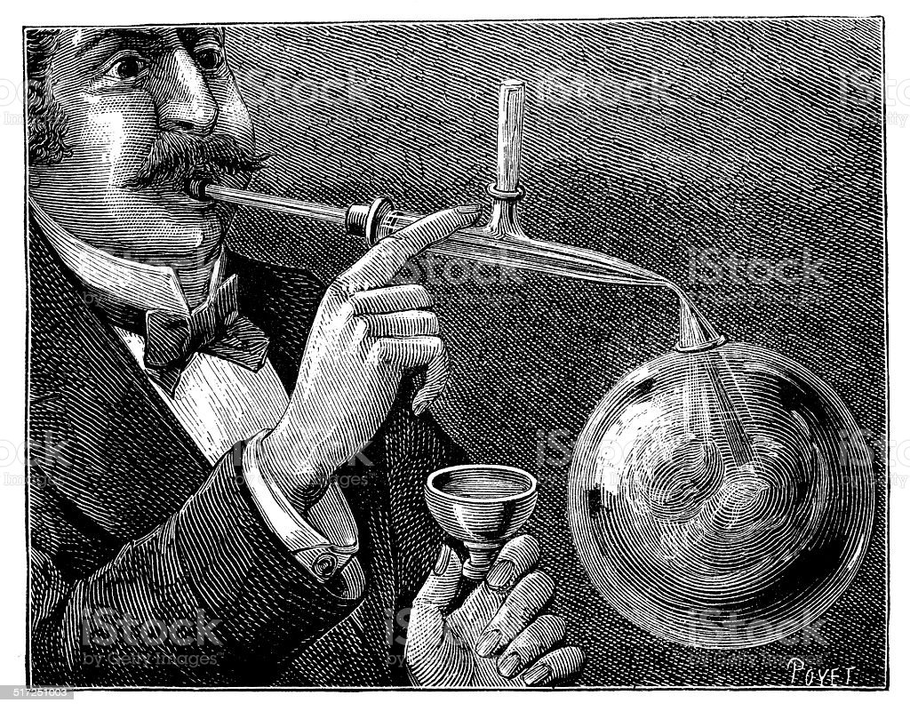 Antique illustration of man blowing bubble vector art illustration