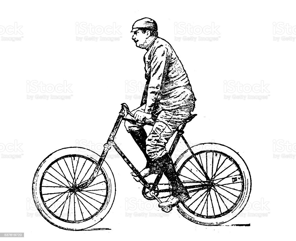 Antique illustration of man on bicycle vector art illustration