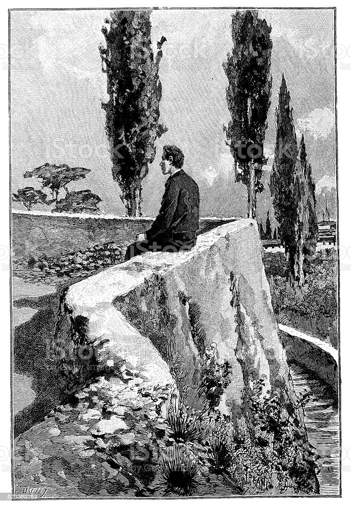 Antique illustration of man sit on wall vector art illustration