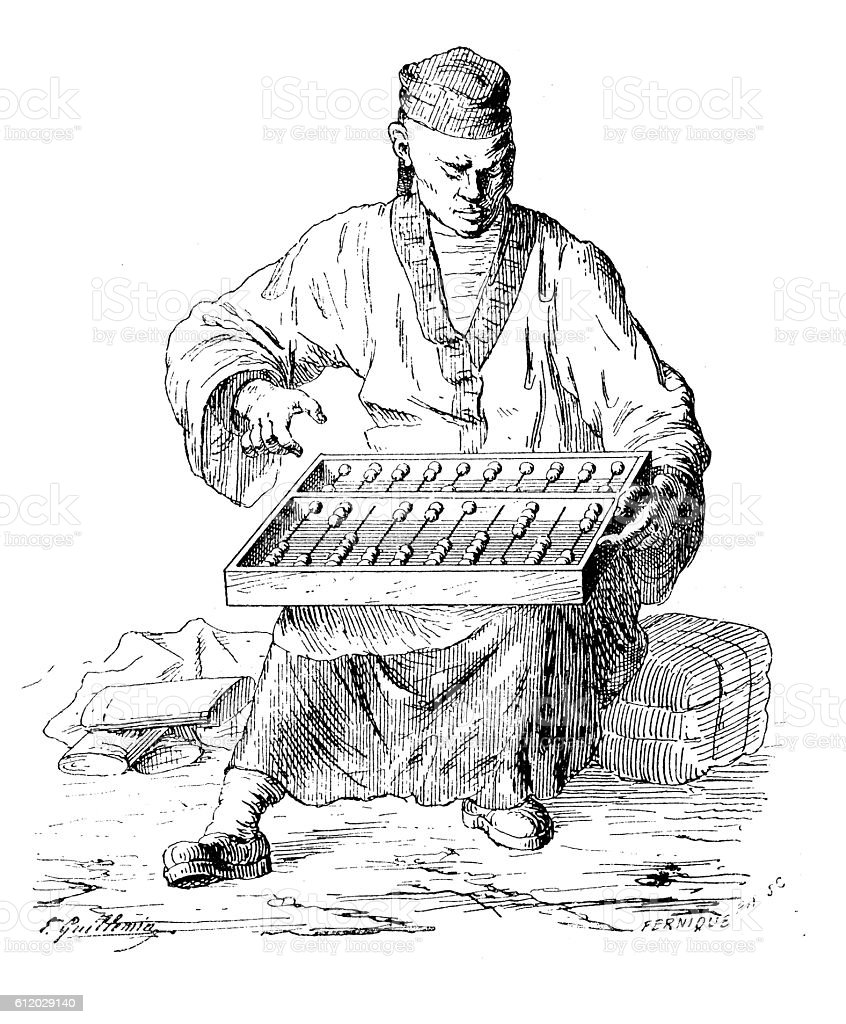 Antique illustration of man with abacus vector art illustration