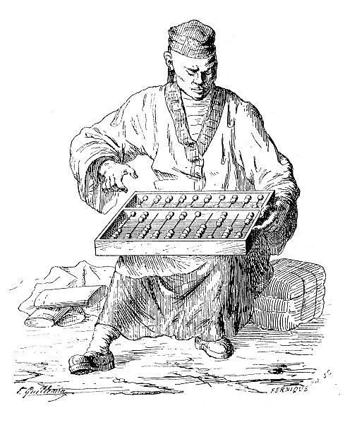 bildbanksillustrationer, clip art samt tecknat material och ikoner med antique illustration of man with abacus - abakus