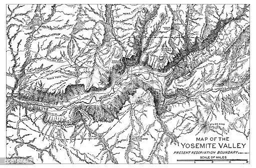Antique illustration of Map of the Yosemite Valley