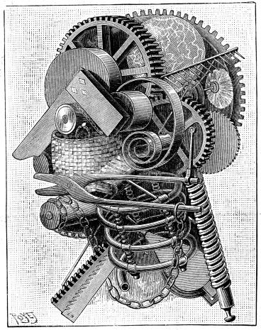 Antique illustration of mechanical man
