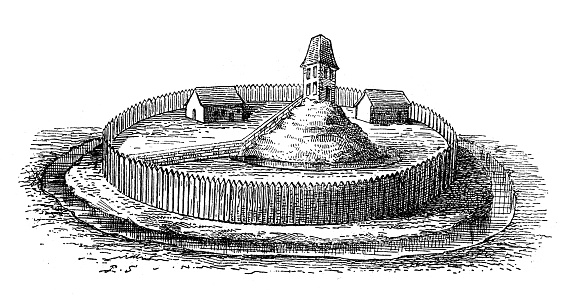 Antique illustration of European medieval fortress (10th century): on an elevated terrain the central castle (with two buildings and a high tower on small hill that overlooks the plain) is surrounded by a moat and circumscribed by a defensive wooden walls (palisade). A brick walls is placed inside the fortified area to better protect the main building of the castle and resist a possible siege.