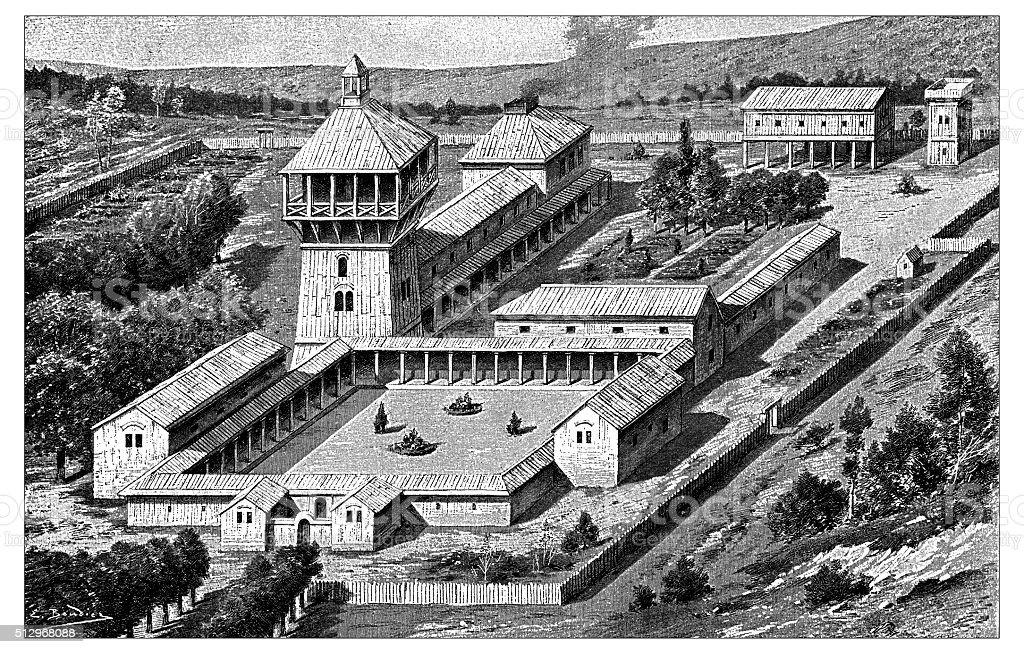 Ancienne illustration de bâtiment résidentiel Mérovingien médiévale - Illustration vectorielle