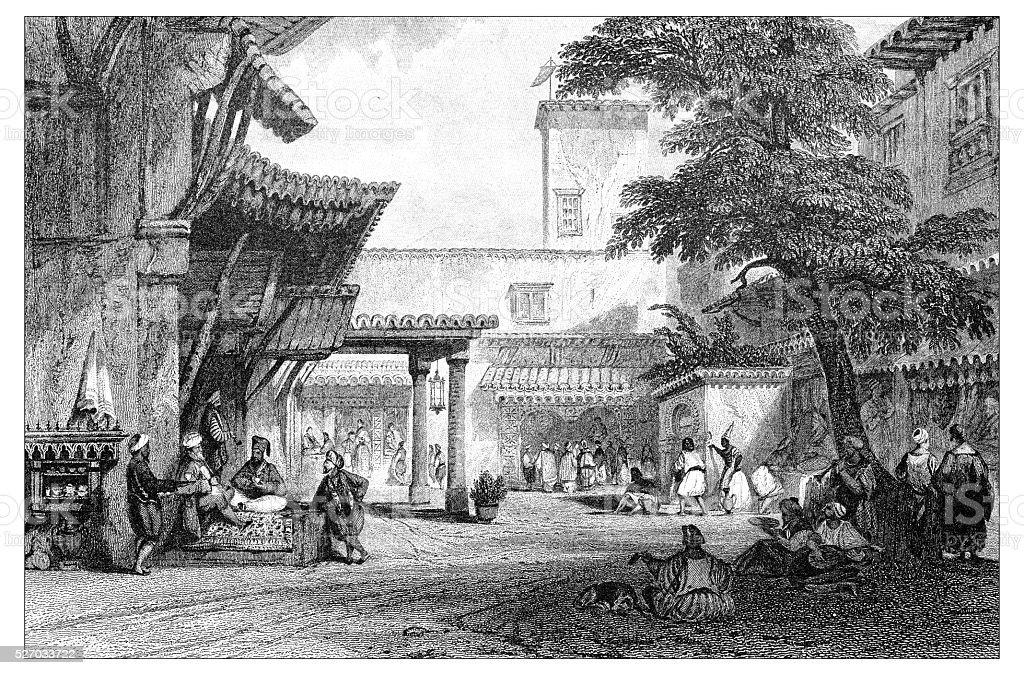 Ilustração antiga de paisagens mediterrâneas : Algiers - ilustração de arte em vetor