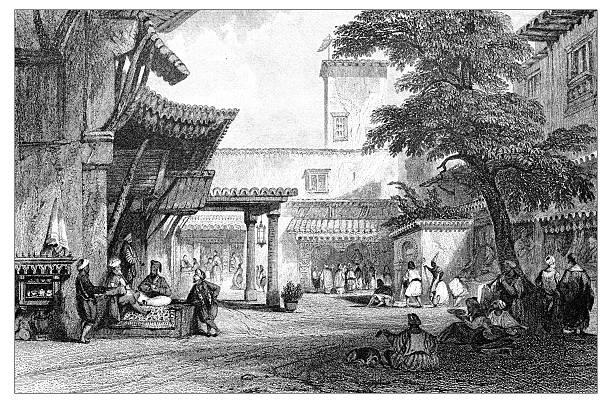 antique illustration of mediterranean landscapes: algiers - 阿爾及利亞 幅插畫檔、美工圖案、卡通及圖標