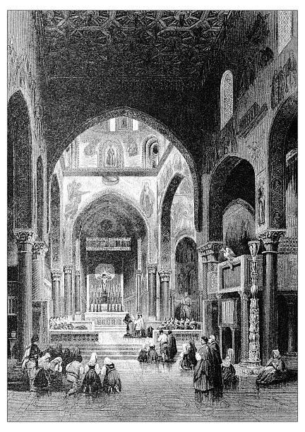 illustrazioni stock, clip art, cartoni animati e icone di tendenza di antica illustrazione di paesaggi mediterraneo : cappella reale, palermo, sicilia, italia - palermo città