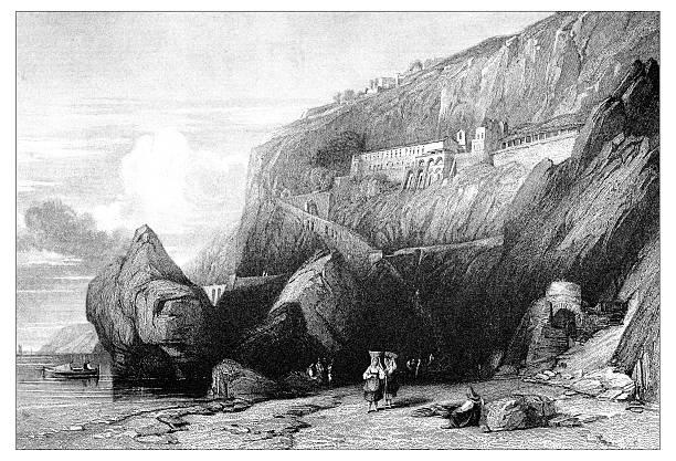 illustrazioni stock, clip art, cartoni animati e icone di tendenza di antica illustrazione di paesaggi mediterraneo : cappuccina frati convento di amalfi - amalfi