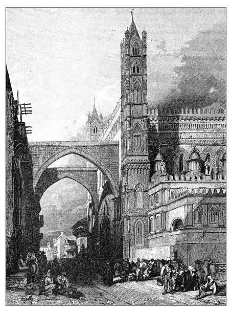 illustrazioni stock, clip art, cartoni animati e icone di tendenza di antica illustrazione di paesaggi mediterraneo : cattedrale di palermo - palermo città