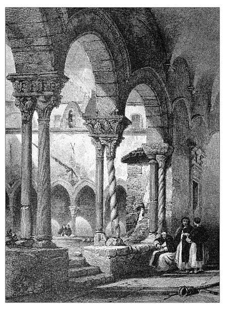 illustrazioni stock, clip art, cartoni animati e icone di tendenza di antica illustrazione di paesaggi mediterraneo : chiostri di san domenico, palermo - palermo città