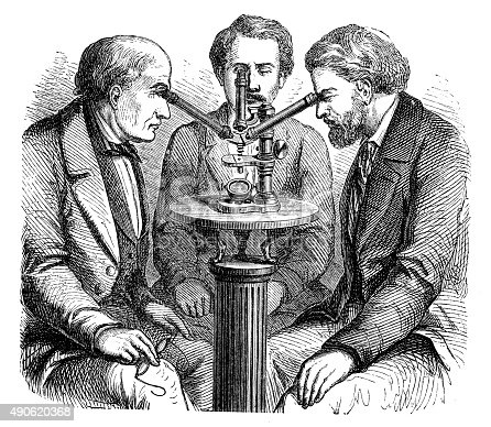 Antique illustration of microscope