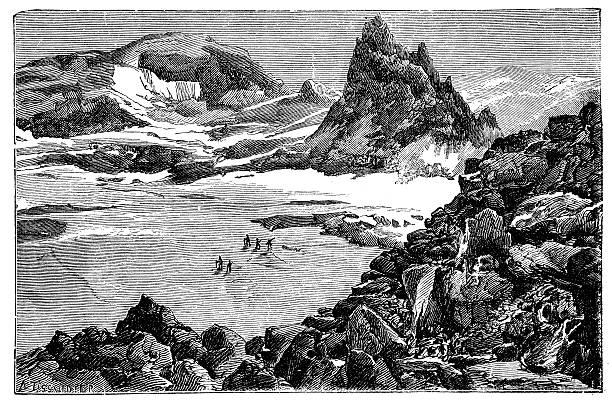 illustrazioni stock, clip art, cartoni animati e icone di tendenza di antica illustrazione di mont blanc spedizione - monte bianco