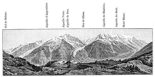 illustrazioni stock, clip art, cartoni animati e icone di tendenza di antica illustrazione di mont blanc, la catena da la flégère - monte bianco