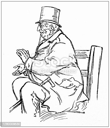 Antique illustration of Montreal, Canada: Old man applauding