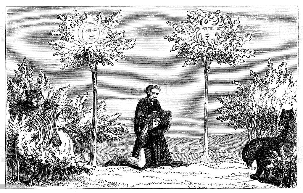 Antique illustration of moon and sun trees royalty-free antique illustration of moon and sun trees stock vector art & more images of 19th century style