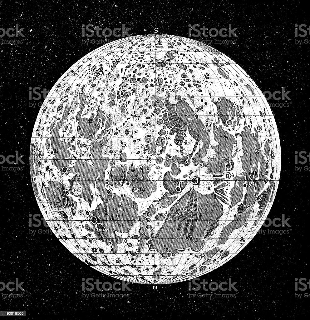 Antique illustration of moon vector art illustration