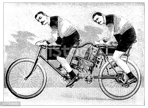Antique illustration of motorbike concept
