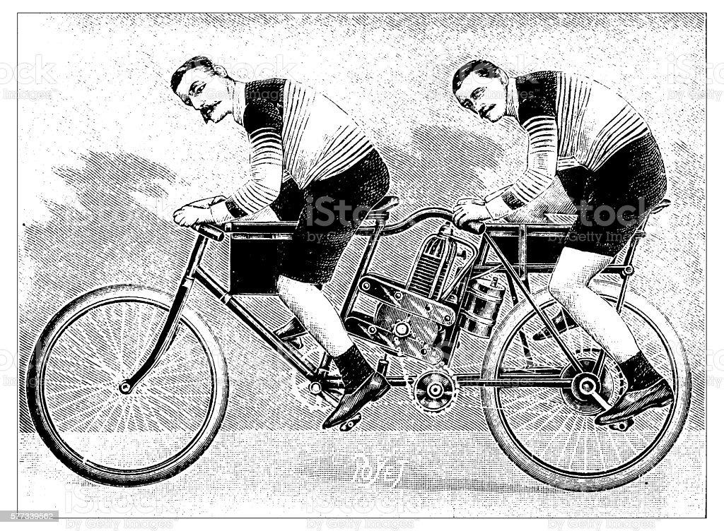 Antique illustration of motorbike concept vector art illustration