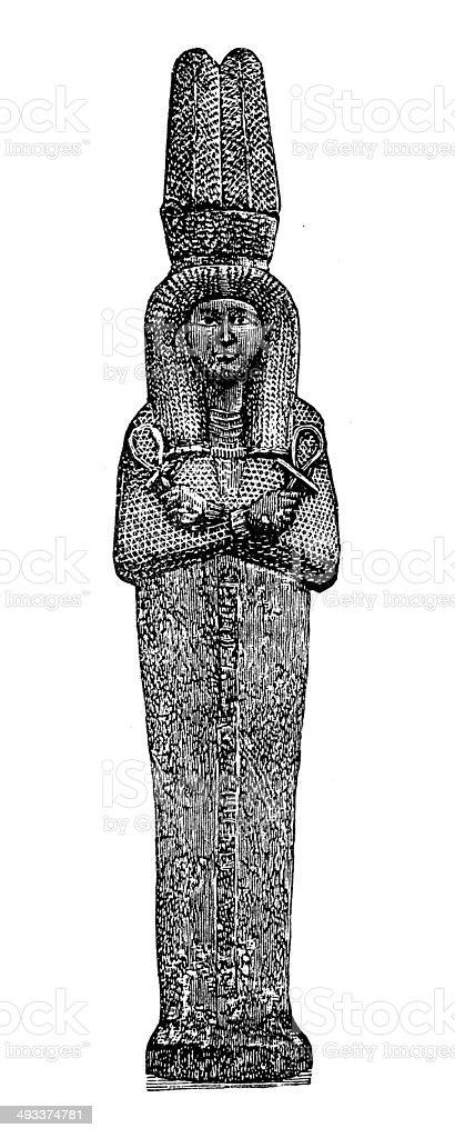 Antique illustration of Mummy case of Queen Ahmose-Nefertari vector art illustration