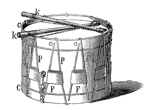 Antique illustration of musical instruments: drum
