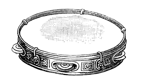 Antique illustration of musical instruments: tambourine