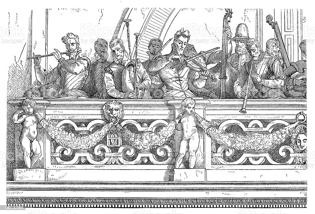 Antique illustration of musicians on balcony royalty-free antique illustration of musicians on balcony stock vector art & more images of 19th century style