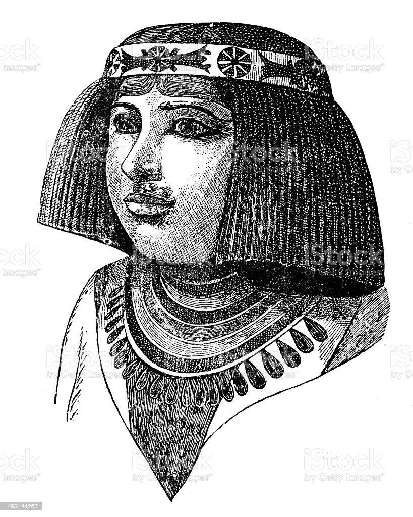 Antique illustration of Nefertiti vector art illustration