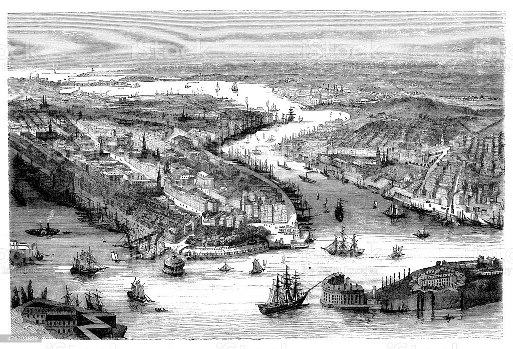 Antique illustration of New York City (1858 ca.) royalty-free stock vector art