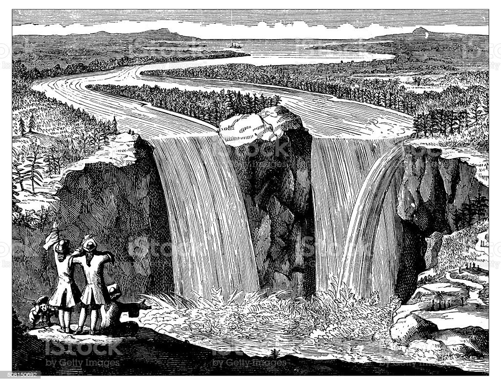Antique Illustration Of Niagara Falls Stock Vector Art More Images Cantilever Bridge Diagram Related Keywords Royalty Free