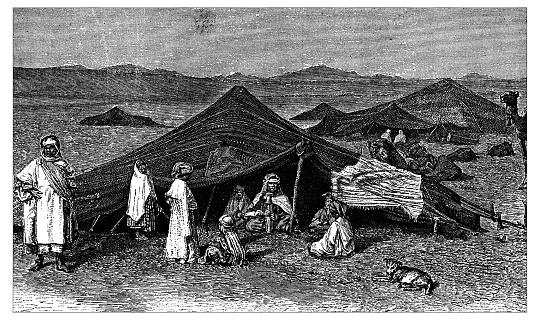 Antique illustration of Nomadic camp in the Sahara desert