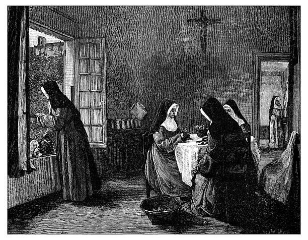 ilustraciones, imágenes clip art, dibujos animados e iconos de stock de anticuario ilustración de religiosas habían descamación frutas - hermana