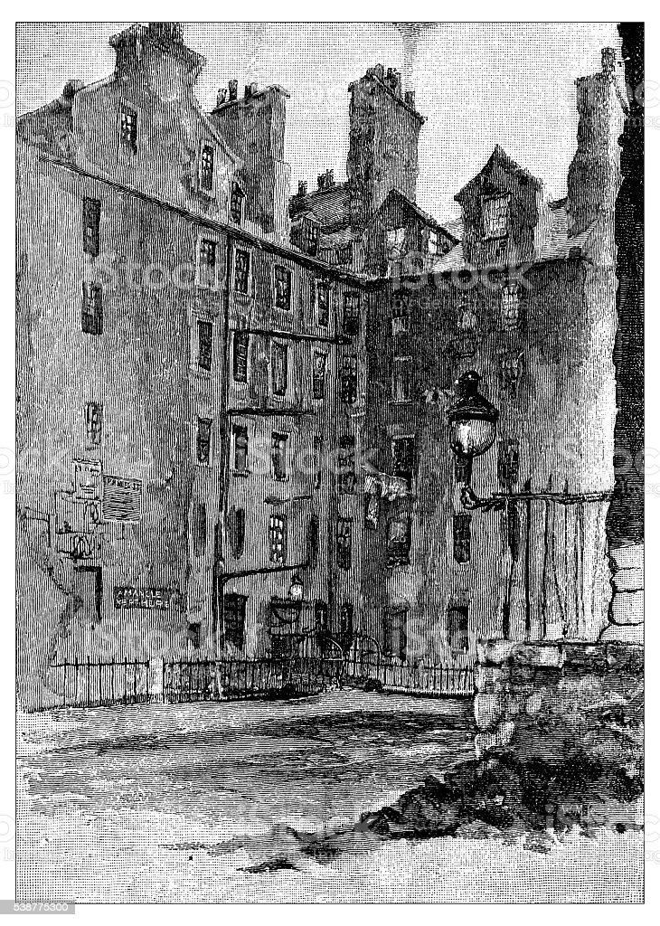 Antique illustration of old Edinburgh: House of Boswell and Hume vector art illustration