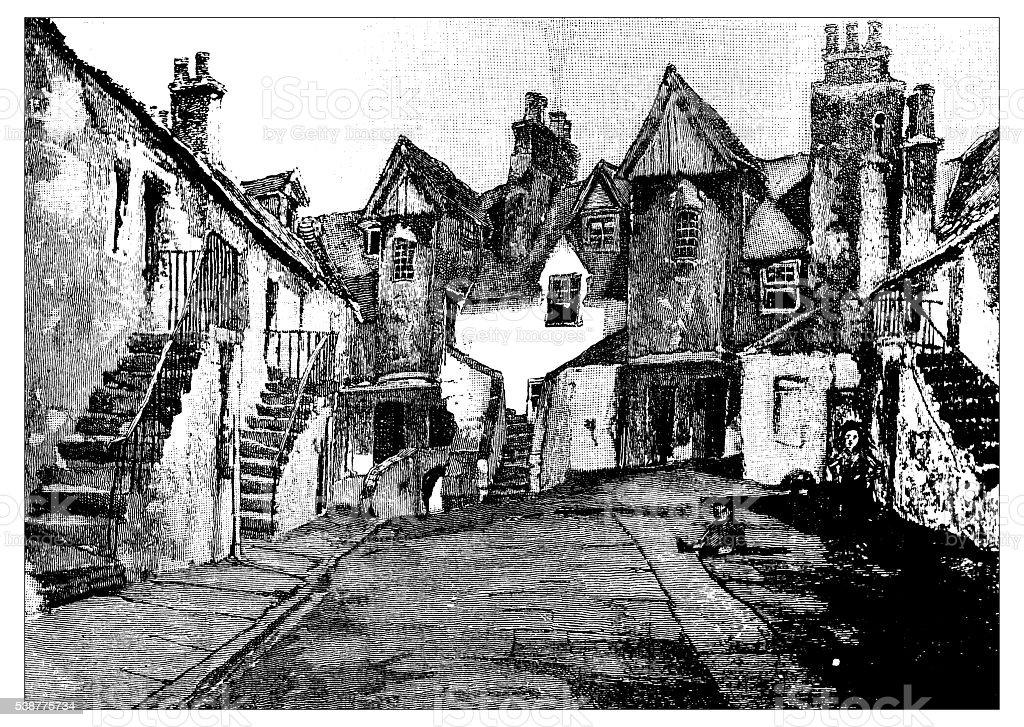 Antique illustration of old Edinburgh: White Horse Inn vector art illustration