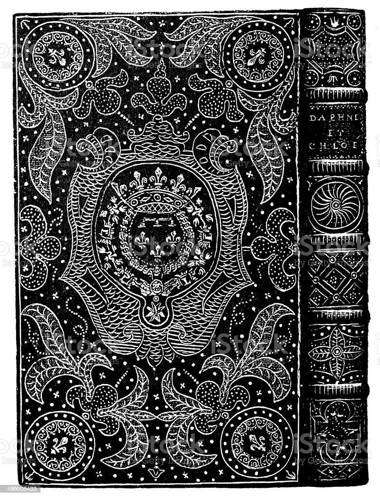 Antique illustration of ornate book binding vector art illustration