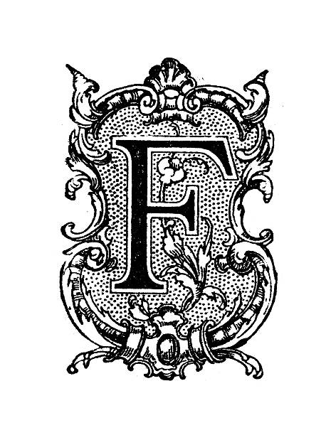 Antique Illustration Of Ornate Capital Letter F Vector Art
