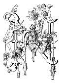Antique illustration of ornate capital letter N