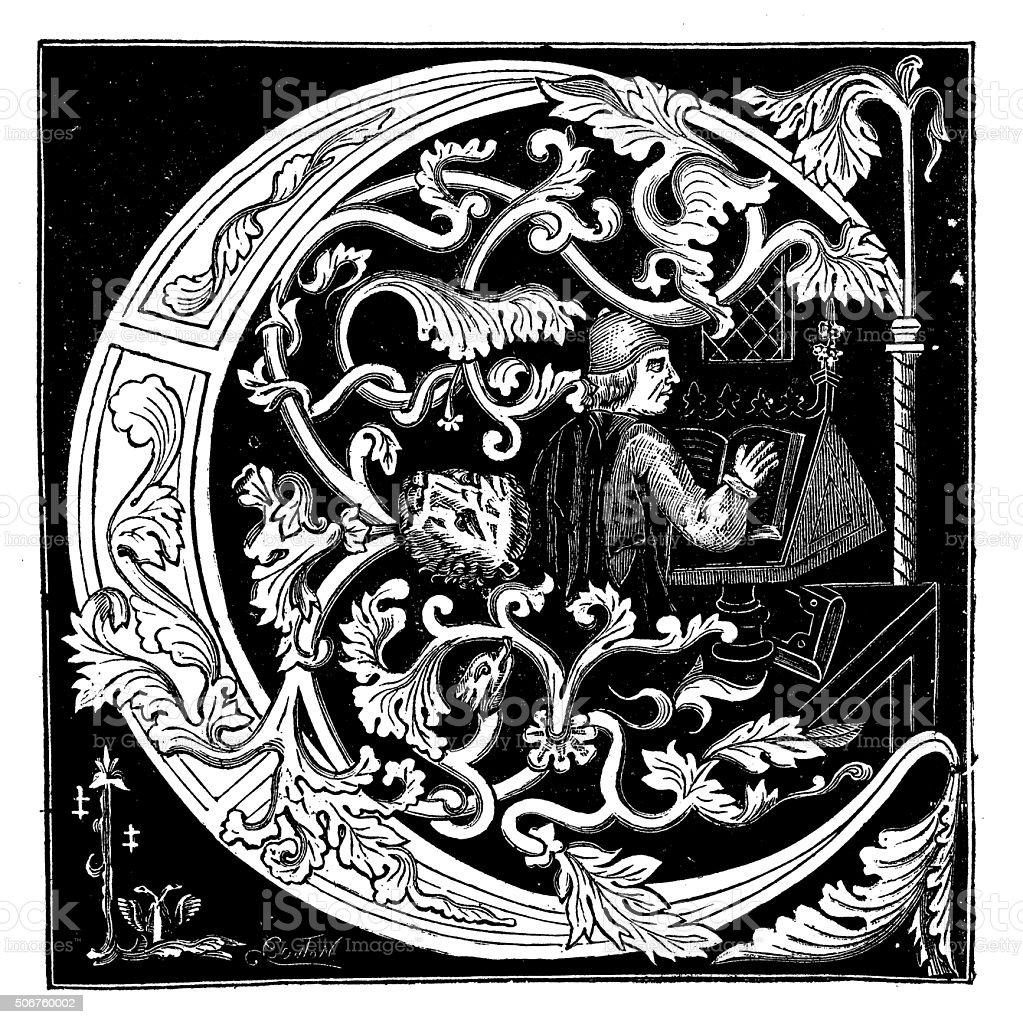 Antique Illustration Of Ornate Letter C From A Medieval Manuscript Stock Vector Art  U0026 More