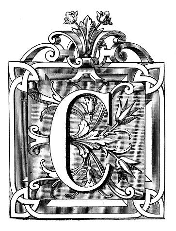 Antique illustration of ornate letter C, with geometrical, vegetal motifs