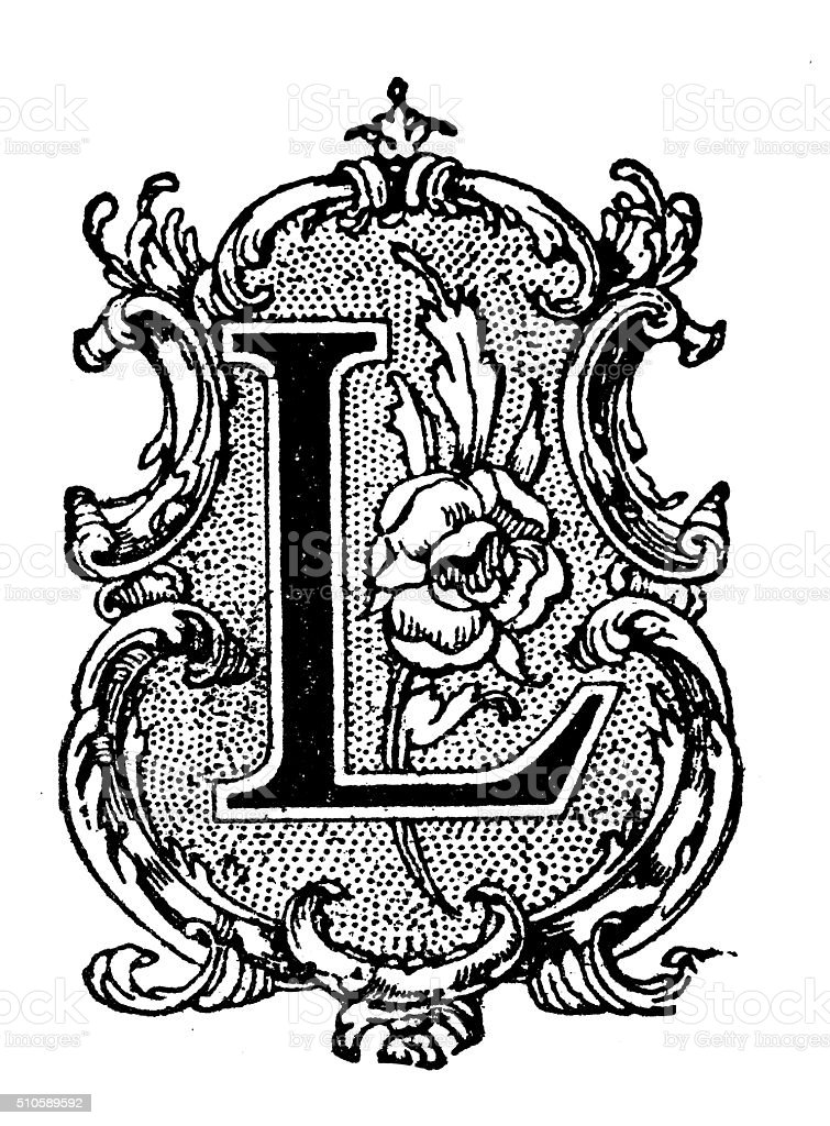 Antique Illustration Of Ornate Letter L Stock Vector Art
