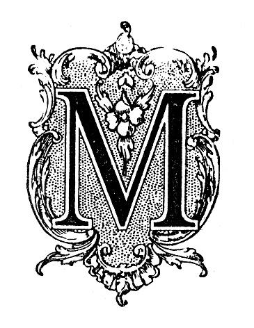 Antique illustration of ornate letter M