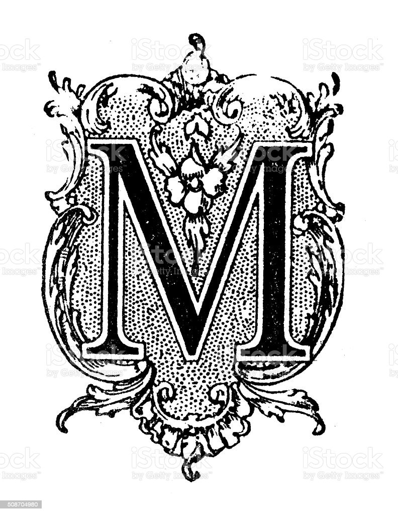 Antique illustration of ornate letter M vector art illustration
