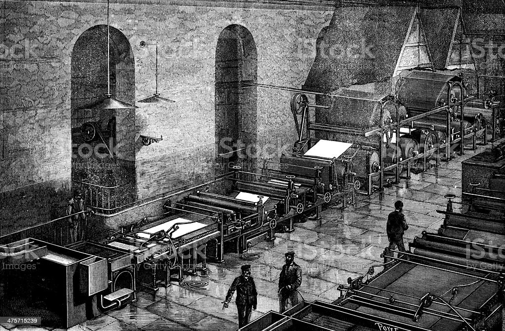 Antique illustration of paper production vector art illustration