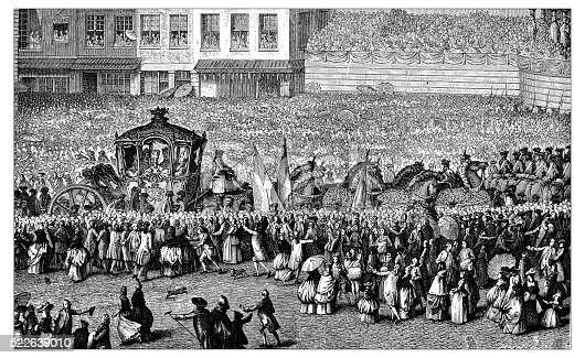 Antique illustration of passage of French royal carriage (1782) in the middle of a immense crowd,  From an engraving by Jean-Michel Moreau